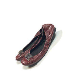 Ralph Lauren 7 Snake Ballet Flats Dark Red Silver